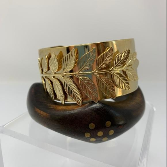 Bangle Bracelet Gold Leaves  Boho